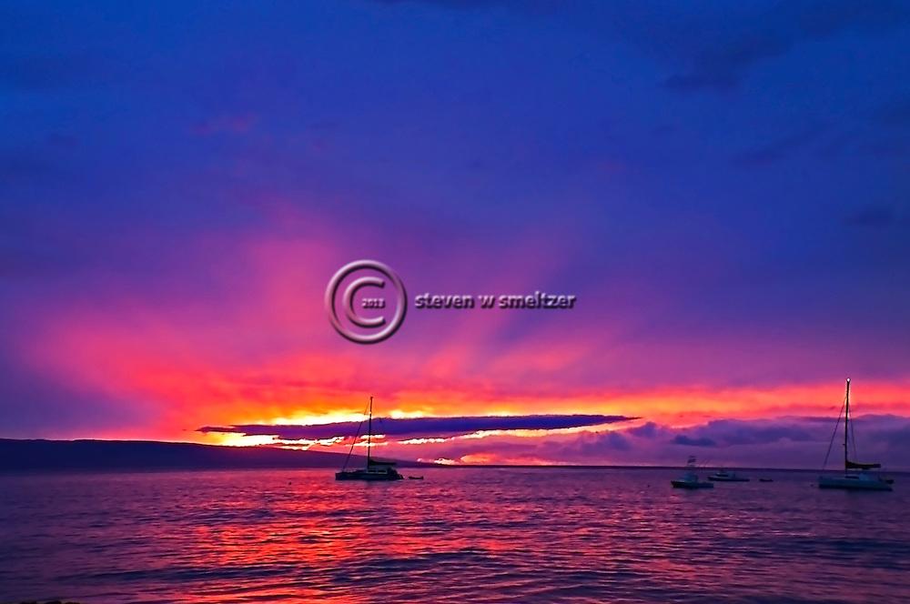 Maui Sunset on the west side looking toward Lanai