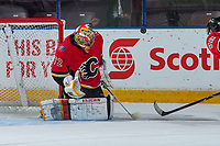 PENTICTON, CANADA - SEPTEMBER 11: Mason McDonald #72 of the Calgary Flames makes a save against the Winnipeg Jets on September 11, 2017 at the South Okanagan Event Centre in Penticton, British Columbia, Canada.  (Photo by Marissa Baecker/Shoot the Breeze)  *** Local Caption ***