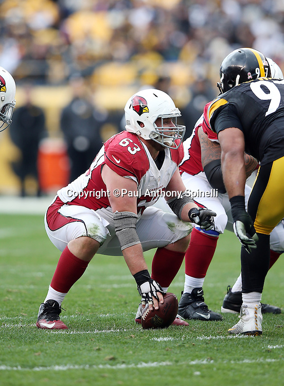 Arizona Cardinals center Lyle Sendlein (63) gets set to snap the ball at the line of scrimmage during the 2015 NFL week 6 regular season football game against the Pittsburgh Steelers on Sunday, Oct. 18, 2015 in Pittsburgh. The Steelers won the game 25-13. (©Paul Anthony Spinelli)
