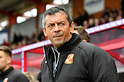 Swindon Town manager Phil Brown during the EFL Sky Bet League 2 match between Exeter City and Swindon Town at St James' Park, Exeter, England on 24 March 2018. Picture by Graham Hunt.