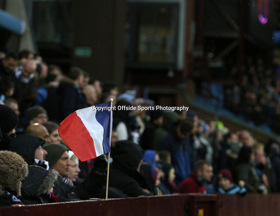 28th November 2015 - Barclays Premier League - Aston Villa v Watford -   A French Tricolour in the Aston Villa crowd - Photo: Paul Roberts / Offside.