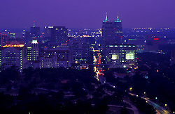 Stock photo of an aerial view of the Texas Medical Center at night