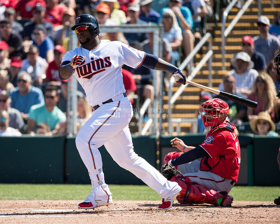 FORT MYERS, FL- FEBRUARY 26: Miguel Sano #22 of the Minnesota Twins bats against the Washington Nationals on February 26, 2017 at Hammond Stadium in Fort Myers, Florida. (Photo by Brace Hemmelgarn) *** Local Caption *** Miguel Sano