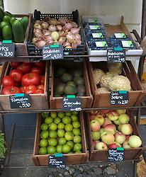 Fresh vegetables on display outside Goldhahn and Sampson shop in Helmholtzplatz in Prenzlauer Berg Berlin Germany