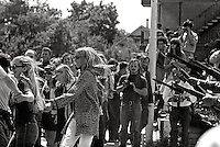 Students face riffles and bayonets at University of California Campus memorial service for James Rector who had be shot days earlier after Governor Reagan sent US National guard in to battle protesters over People's Park at University of California in Berkeley 1969