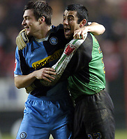 Photo: Olly Greenwood.<br />Charlton Athletic v Wycombe Wanderers. Carling Cup. 19/12/2006. Wycombe's Russell Martin and Jamie Young celebrate victory over Charlton 1-0