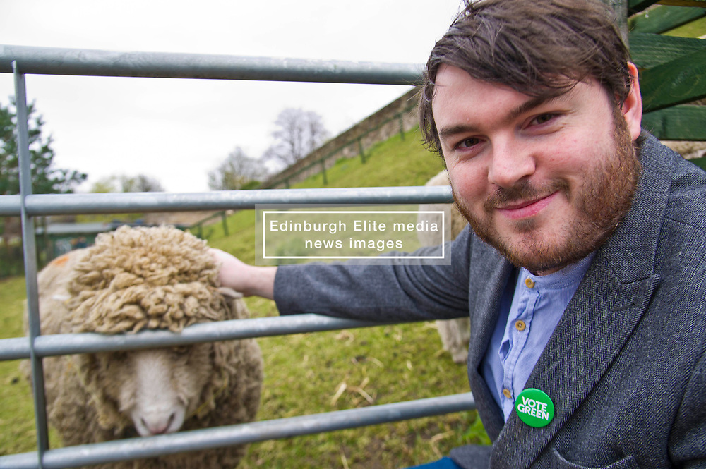Pictured: Candidate Dan Heap<br /> Scottish Greens on local election campaign trail. Mark Ruskell MSP, the party's environment spokesperson, joined candidate for the Sighthill/Gorgie ward Dan Heap on a visit to Gorgie city farm. The pair met Chief executive of the farm, Josiah Lockhart and Development and fundraising manager, Sarah Campbell during their tour.<br /> <br /> <br /> Ger Harley | EEm 19 April 2017
