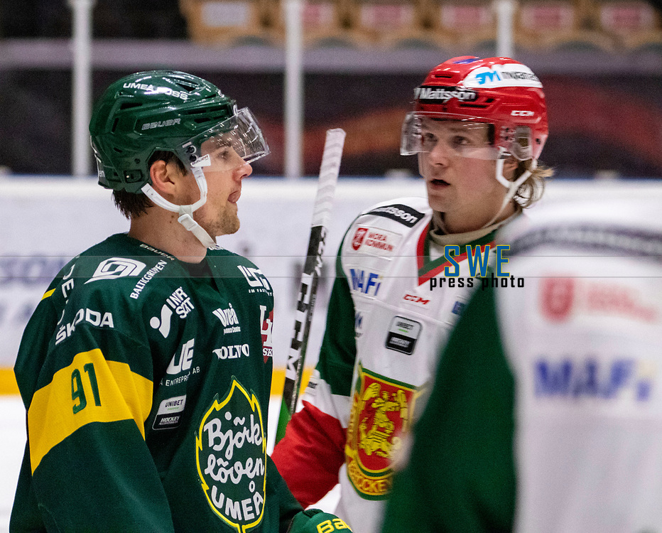 2019-12-02 | Umeå, Sweden:Björklöven (91) Justin Crandall score 3-0 to IF Björklöven in HockeyAllsvenskan during the game  between Björklöven and Mora at A3 Arena ( Photo by: Michael Lundström | Swe Press Photo )<br /> <br /> Keywords: Umeå, Hockey, HockeyAllsvenskan, A3 Arena, Björklöven, Mora, mlbm191202