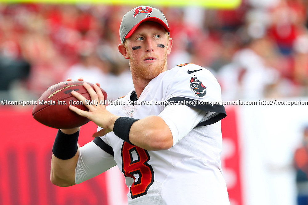 15 SEP 2013:    Mike Glennon of the Buccaneers warms up before the NFL regular season game between the New Orleans Saints and the Tampa Bay Buccaneers at Raymond James Stadium in Tampa, Florida.
