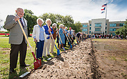 Arthur Stimson '38 and other alumni during a groundbreaking ceremony at Lamar High School, March 30, 2017.