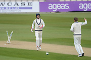 John Simpson and Dawid Malan of Middlesex celebrate the wicket of Rilee Rossouw of Hampshire during the Specsavers County Champ Div 1 match between Hampshire County Cricket Club and Middlesex County Cricket Club at the Ageas Bowl, Southampton, United Kingdom on 16 April 2017. Photo by David Vokes.