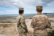 May 30, 2019, Utah Beach,  Normandy, France. Two US GI's from the Airborn division stand  looking at Utah beach during the 75th anniversary of D-Day and Battle of Normandy commemorations. <br /> 30 Mai 2019, Utah Beach, Normandie, France. Deux soldats américains de la division Airborn regardent Utah beach pendant le 75e anniversaire des commémorations du jour J et de la bataille de Normandie.