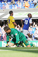 Picture by Richard Calver/Focus Images Ltd +447792 981244<br /> 28/09/2013<br /> David McGoldrick of Ipswich Town peels away after scoring his second goal against Brighton and Hove Albion during the Sky Bet Championship match at Portman Road, Ipswich.