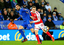Vicente Iborra of Leicester City takes on George Glendon of Fleetwood Town - Mandatory by-line: Robbie Stephenson/JMP - 16/01/2018 - FOOTBALL - King Power Stadium - Leicester, England - Leicester City v Fleetwood Town - Emirates FA Cup third round proper