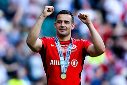 Alex Lozowski of Saracens celebrates after winning in the Premiership Rugby Final against Exeter Chiefs - Mandatory by-line: Robbie Stephenson/JMP - 01/06/2019 - RUGBY - Twickenham Stadium - London, England - Exeter Chiefs v Saracens - Gallagher Premiership Rugby Final