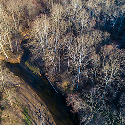 Big Elk Creek in early spring in Elk Township, Pennsylvania.