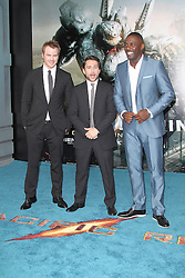 @ London News PIctures. Robert Kazinsky; Charlie Day; Idris Elba at  Pacific Rim European Film Premiere, BFI IMAX Waterloo, London UK, 04 July 2013. Photo by Richard Goldschmidt/LNP