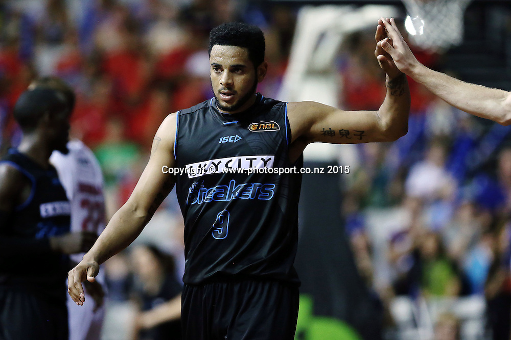 Corey Webster of the Breakers celebrates with his teammates. 2014/15 ANBL, SkyCity Breakers vs Wollongong Hawks, North Shore Events Centre, Auckland, New Zealand. Thursday 8 January 2015. Photo: Anthony Au-Yeung / www.photosport.co.nz
