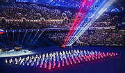 07.02.2014. Sochi, Russia. Opening Ceremonies for the XXII Olympic Winter Games Sochi 2014. FISHT Stadium, Adler/Sochi, Russia - Russian flag made of LED lights