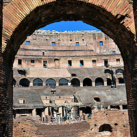View of Colosseum&rsquo;s Arena through Arch in Rome, Italy <br />