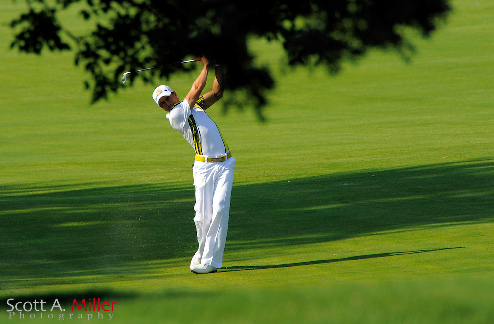 Aug 14, 2009; Chaska, MN, USA; Camilo Villegas (COL) hits from the 11th fairway during the second round of the 2009 PGA Championship at Hazeltine National Golf Club.  ©2009 Scott A. Miller