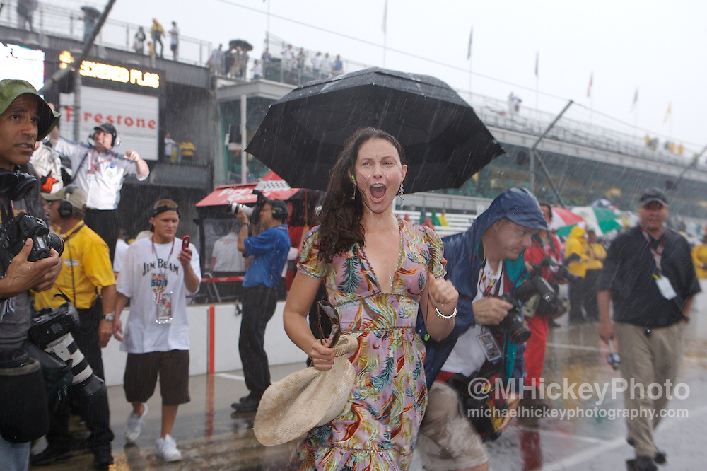Ashley Judd celebrates her husband Dario Franchitti winning the Indy 500 in a rain shortened race on May 27, 2007 in Speedway, Indiana. Photo by Michael Hickey