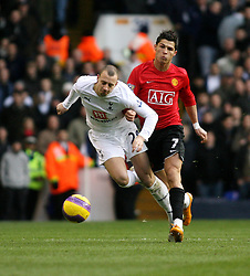 LONDON, ENGLAND - Saturday, February 2, 2008: Tottenham Hotspur's Alan Huton and Manchester United's Cristionaldo during the Premiership match at White Hart Lane. (Photo by Chris Ratcliffe/Propaganda)