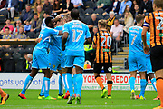 Burton Albion midfielder Jackson Irvine (36) scores a goal to make the score 1-1 and celebrates with team-mates during the EFL Sky Bet Championship match between Hull City and Burton Albion at the KCOM Stadium, Kingston upon Hull, England on 12 August 2017. Photo by Richard Holmes.