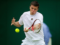 LONDON, ENGLAND - Wednesday, June 27, 2012: Kenneth Skupski (GBR) during the Gentlemen's Doubles 1st Round match on day three of the Wimbledon Lawn Tennis Championships at the All England Lawn Tennis and Croquet Club. (Pic by David Rawcliffe/Propaganda)