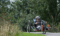 Jen Warren in action during the Prudential RideLondon Handcycle Grand Prix.<br /> <br /> Prudential RideLondon 28/07/2017<br /> <br /> Photo: Tom Lovelock/Silverhub for Prudential RideLondon<br /> <br /> Prudential RideLondon is the world&rsquo;s greatest festival of cycling, involving 100,000+ cyclists &ndash; from Olympic champions to a free family fun ride - riding in events over closed roads in London and Surrey over the weekend of 28th to 30th July 2017. <br /> <br /> See www.PrudentialRideLondon.co.uk for more.<br /> <br /> For further information: media@londonmarathonevents.co.uk