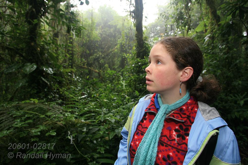 Cloud Forest School sixth-grader Jocelyn Mena Mora admires rainforest of Santa Elena National Park, Costa Rica.