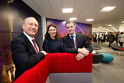 UK Managing Director, Chris Mottershead, Director of Retail and Customer Experience, Kathryn Darbandi and Michael Matheson MSP for Falkirk, at the official opening of the Thomas Cook holiday contact centre at Central Park, Larbert