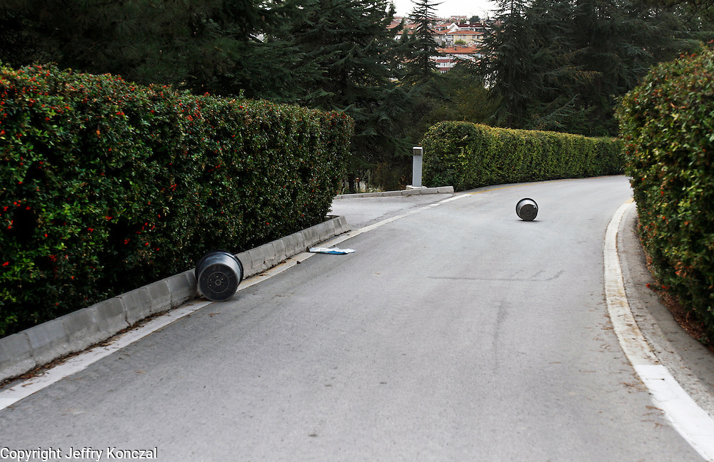 Trash cans lay in the street near Anıtkabir in Ankara, Turkey.
