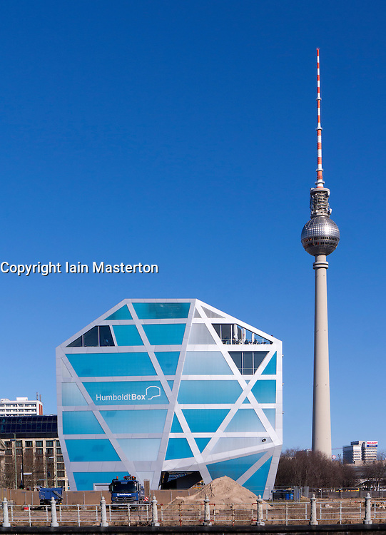 View of  Humboldt Box and Television Tower in Mitte Berlin Germany