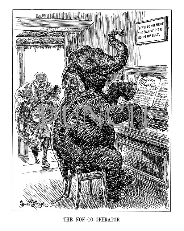 The Non-Co-operator. (an armed Mahatma Ghandi charges the New Constitution elephant who plays an Indian Rhapsody infront of a sign 'Please Do Not Shoot The Pianist. He Is Doing His Best)