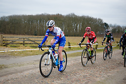 Rozanne Slik across the cobbles at Ronde van Drenthe 2018 - a 157.2 km road race on March 11, 2018, from Emmen to Hoogeveen, Netherlands. (Photo by Sean Robinson/Velofocus.com)