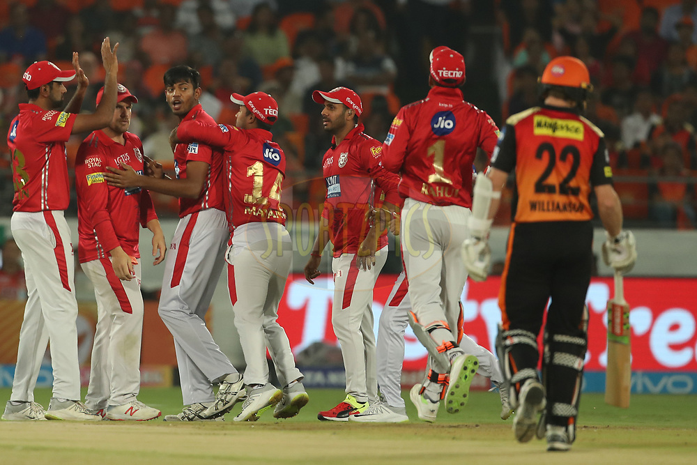 Ankit Singh Rajpoot of the Kings XI Punjab celebrates the wicket of Kane Williamson of the Sunrisers Hyderabad during match twenty five of the Vivo Indian Premier League 2018 (IPL 2018) between the Sunrisers Hyderabad and the Kings XI Punjab  held at the Rajiv Gandhi International Cricket Stadium in Hyderabad on the 26th April 2018.<br /> <br /> Photo by: Ron Gaunt /SPORTZPICS for BCCI