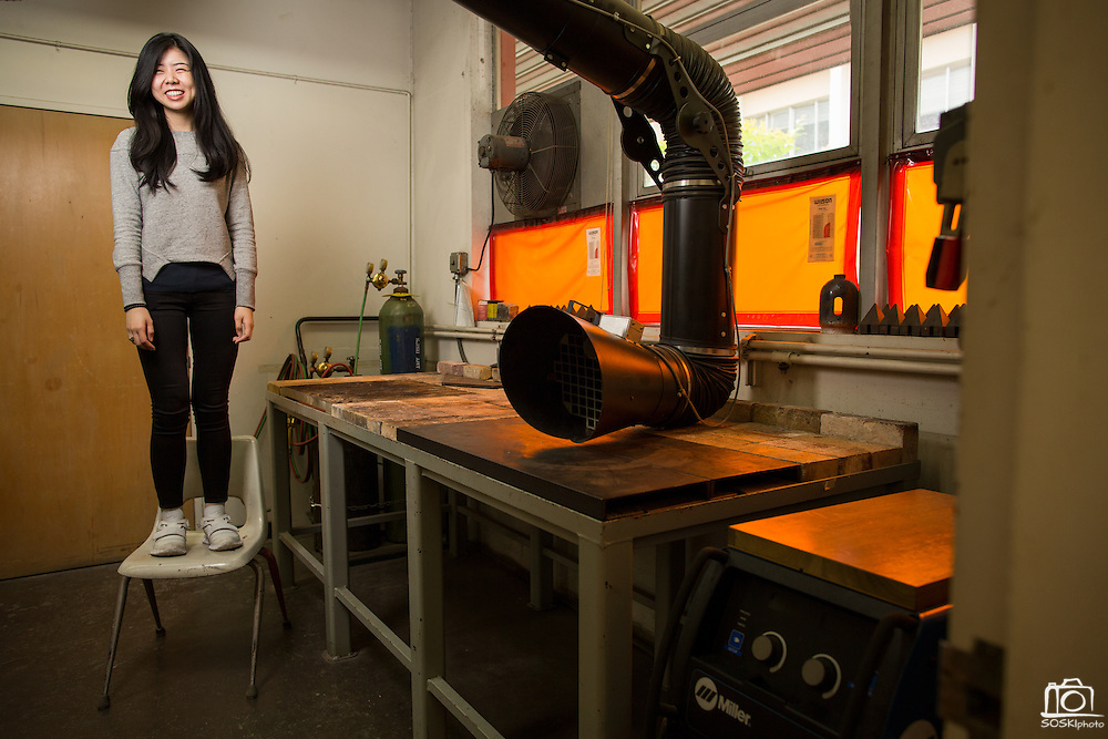 San Jose State University Department of Design student Steffany Tran poses for a portrait at San Jose State University's Art Building in San Jose, California, on May 13, 2016. (Stan Olszewski/SOSKIphoto)