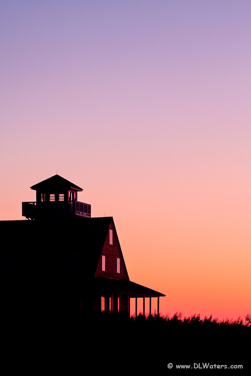 The refurbished Coast Guard station at Oregon Inlet at sunrise.