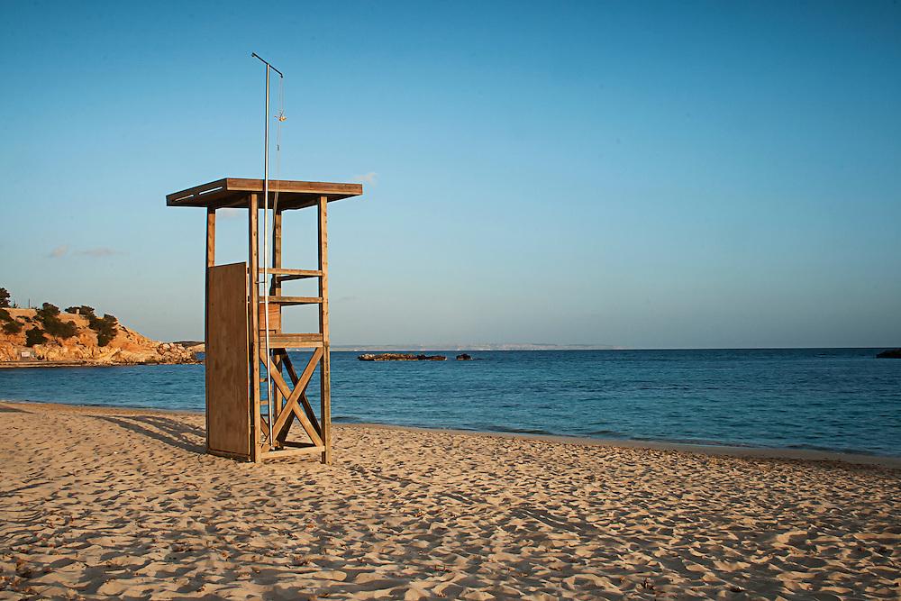 A lifegaurd chair on a beach in Mallorca, Spain