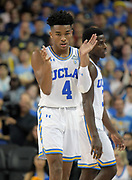 Nov 15, 2017; Los Angeles, CA, USA; UCLA Bruins guard Jaylen Hands (4) celebrates during a NCAA basketball against the Central Arkansas Bears at Pauley Pavilion. UCLA defeated Central Arkansas 106-101 in overtime.