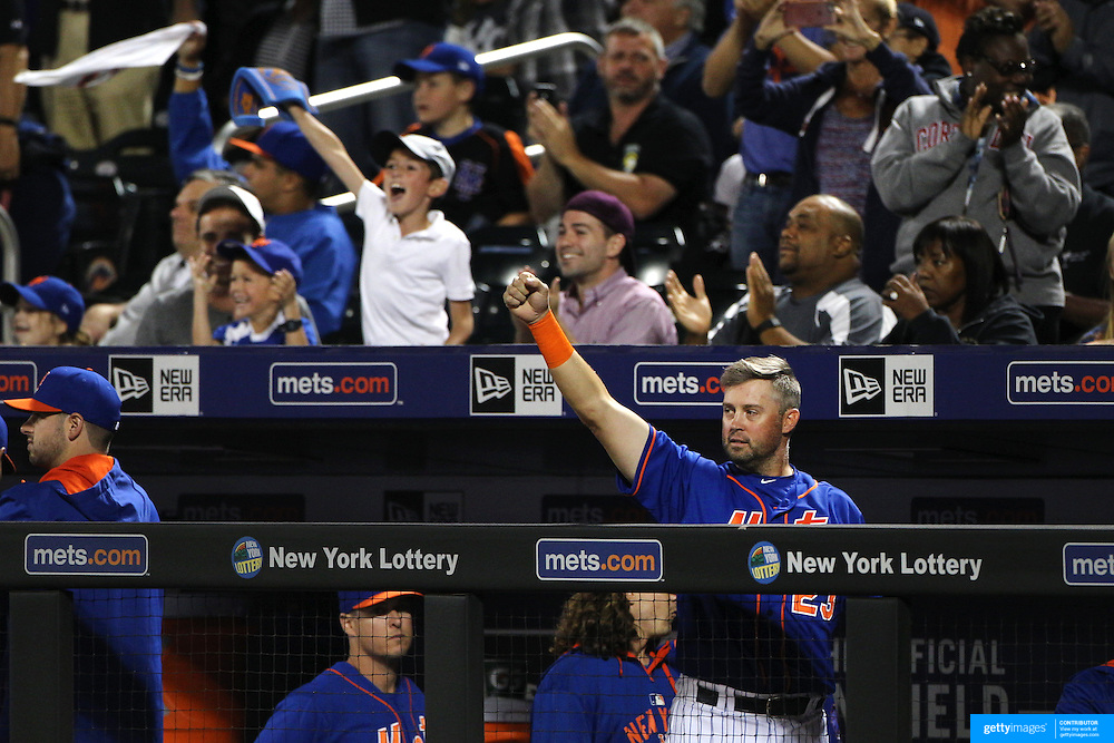 Michael Cuddyer and New York Mets fans celebrate a double from David Wright, New York Mets, during the New York Mets Vs New York Yankees MLB regular season baseball game at Citi Field, Queens, New York. USA. 20th September 2015. Photo Tim Clayton