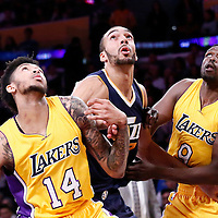 05 December 2016: Utah Jazz center Rudy Gobert (27) vies for the rebound with Los Angeles Lakers forward Luol Deng (9) and Los Angeles Lakers forward Brandon Ingram (14) during the Utah Jazz 107-101 victory over the Los Angeles Lakers, at the Staples Center, Los Angeles, California, USA.