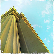Stone pillars and sky in Toledo, Ohio.