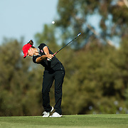 26 March 2018: Haleigh Krause hits an approach shot on the eight hole during the opening round of the March Mayhem Tournament hosted by SDSU at the Farms Golf Club in Rancho Santa Fe, California. <br /> More game action at sdsuaztecphotos.com