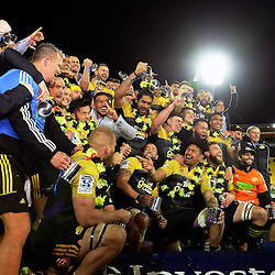 The Hurricanes celebrate winning the Super Rugby final match between the Hurricanes and Lions at Westpac Stadium, Wellington, New Zealand on Saturday, 6 August 2016. Photo: Marco Keller - www.polomedia.co.nz / lintottphoto.co.nz