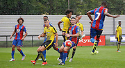 Aaron Bissaka firing in his goal at the back post during the Final Thirds Development League match between U21 Crystal Palace and U21 Watford at Selhurst Park, London, England on 24 August 2015. Photo by Michael Hulf.