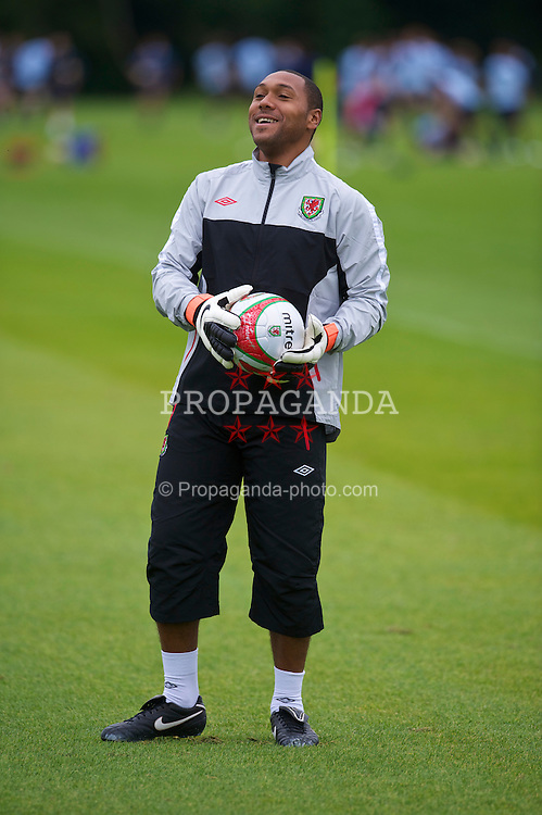 CARDIFF, WALES - Monday, August 9, 2010: Wales' goalkeeper Jason Brown during a training session at the Vale of Glamorgan ahead of the international friendly match against Luxembourg. (Pic by David Rawcliffe/Propaganda)