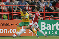 London - Saturday August 15th, 2009: Simon Whaley (L) of Norwich City in action against Steve Tully of Exeter City during the Coca Cola League One match at St James Park, Exeter. (Pic by Mark Chapman/Focus Images)