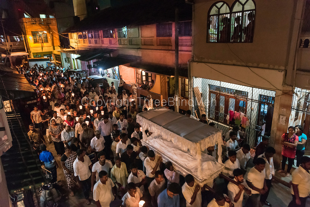 Good Friday procession from St. Anthony's Church, Kochchikade. Colombo 13.<br /> At Newham Square.